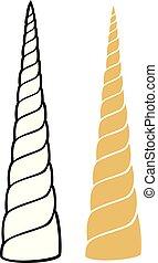 horn, abbildung, vektor, einhorn