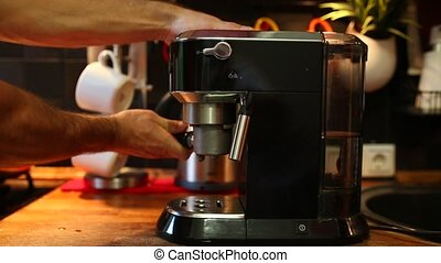 horn coffee is inserted into the coffee machine