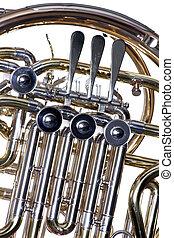 horn, fransk, isoleret, hvid, imod