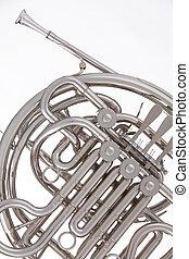 horn, fransk, isoleret, hvid, sølv