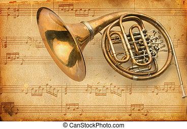 horn., grunge, musikalsk begavet, baggrund, fransk