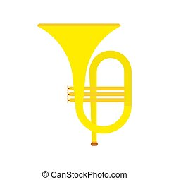 Horn instrument vector icon musical classical orchestra. Brass band cartoon acoustic golden tuba. Fanfare equipment bass