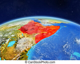 Horn of Africa on Earth from space
