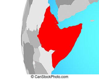 Horn of Africa on globe