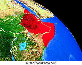 Horn of Africa on planet Earth from space with country borders. Very fine detail of planet surface. 3D illustration. Elements of this image furnished by NASA.