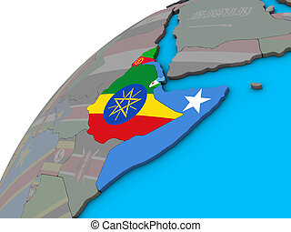 Horn of Africa with national flags on 3D globe. 3D illustration.