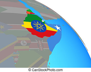 Horn of Africa with flags on globe