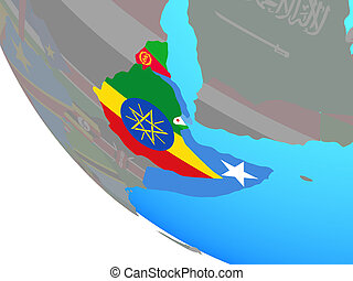 Horn of Africa with national flags on simple globe. 3D illustration.
