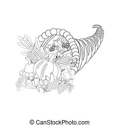 Horn of planty harvest coloring page
