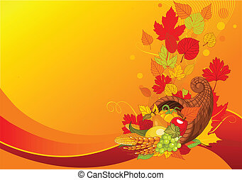 Horn of plenty background - Thanksgiving background with...