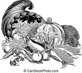 A cornucopia horn of plenty full of fresh produce harvest in an engraved etched vintage woodcut style