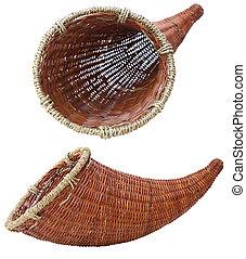Horn of Plenty - Empty horn of plenty isolated on white...