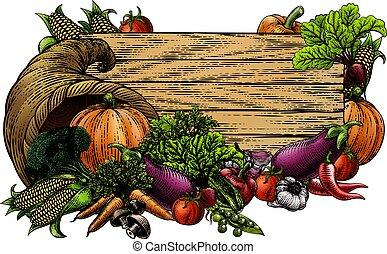 Horn of Plenty Garden Vegetable Fresh Produce Sign