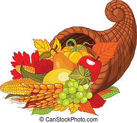 Horn of plenty - Illustration of a Thanksgiving cornucopia...