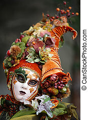 Horn of plenty mask - Woman disguised with a horn of plenty...