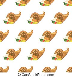 Horn of plenty pattern on the white background. Vector...