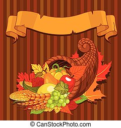 Horn of plenty - Thanksgiving background with cornucopia...