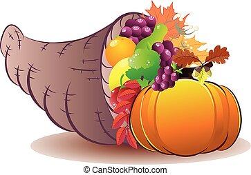 Horn of plenty - Traditional Thanksgiving horn of plenty,...