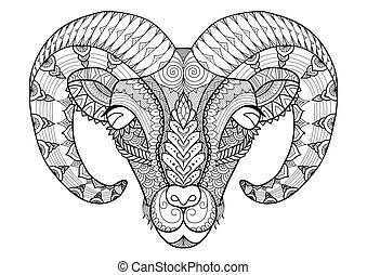 horn sheep - Horn sheep line art design for coloring book, t...