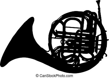 horn silhouette - isolated vector illustration