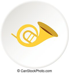 Horn trumpet icon circle - Horn trumpet icon in flat circle...