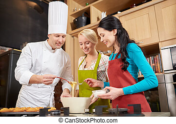 hornada, cocina, chef, cocinero, mujeres felices