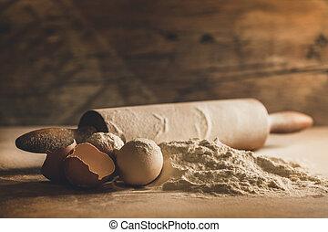 hornada de casa, con, huevos, y, harina