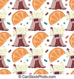 hornada, estilo, fruta cítrica, corte, rebanadas, patrón, ...
