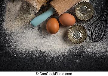 hornada, plano de fondo, ingredientes