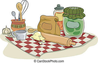 hornada, utensilios, y, ingredientes