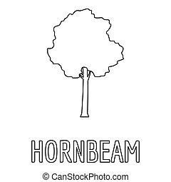 Hornbeam icon, outline style.