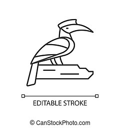 Hornbill linear icon. Singapore national bird. Exotic animal. Omnivorous creature living wild. Thin line customizable illustration. Contour symbol. Vector isolated outline drawing. Editable stroke