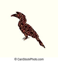 hornbill, silhouette, couleur, modèle, spirale, animal, oiseau