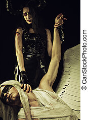 Horned and violent - Horned girl in black latex clothes...