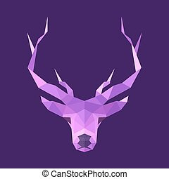 horned animal deer head illustration logo low poly modern style sign