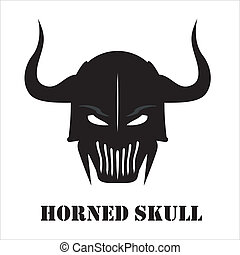 Horned Black skull - Suitable for team identity, sport club ...