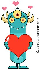 Horned Blue Monster Holding A Heart