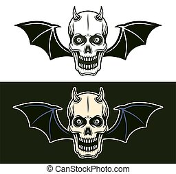 Horned devil skull with bat wings in two styles