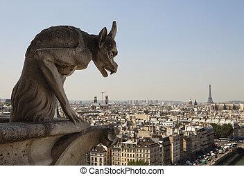 Horned Gargoyle With Eiffel Tower - Stone gargoyle with...