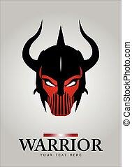 Horned head Warrior Mascot. Black Horned Warrior.