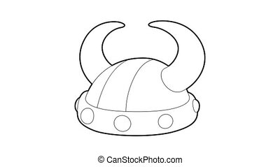 Horned helmet icon animation best outline object on white background