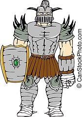 Horned Knight Full Armor Shield Cartoon