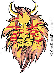 Horned lion head - Powerful horned lion head with severe...