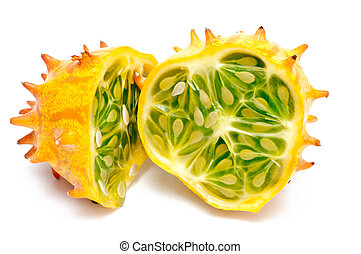 horned melon isolated on white ground