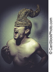 Horned, naked man with helmet warrior trumpets, and pain...