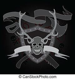 horned skull coat of arms