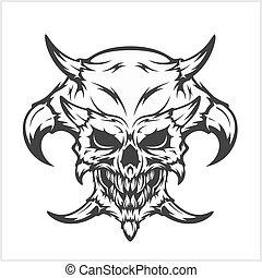Horned skull - isolated on white