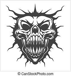 Horned skull - isolated on white - Horned skull for tattoo -...