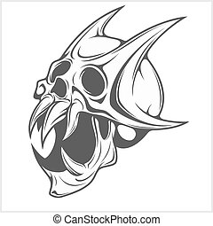 Horned Skull on white