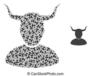 Vector horned user composition is designed from repeating self horned user items. Fractal mosaic from horned user.